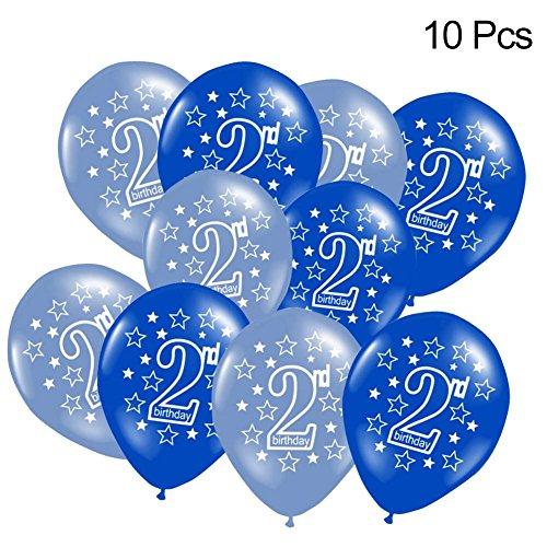 10Stück 2 Geburtstag Ballons Gedruckt Latex Luftballons Requisiten für Jungen und Mädchen Geburtstagsparty Süße Partydekorationen (Rosa/Blau) (Geburtstagsparty Für Jungen)