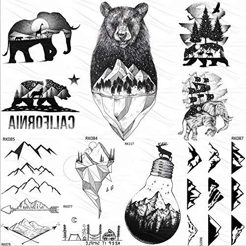 lijinjin Temporäre Tattoo-Aufkleber Black Mountain Bear Temporäre Tattoos Aufkleber Wald Segelschiff Benutzerdefinierte Tattoo Body Art Arm Fake Tattoo Wasserdicht 10X6Cm 7Pc