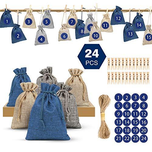 Adventskalender zum Befüllen, Nasharia 1-24 Adventszahlen Aufkleber, Weihnachten Geschenksäckchen mit 24 Holzklammern und Hanfseil, Adventskalender 2019, Weihnachtskalender Bastelset für Kinder