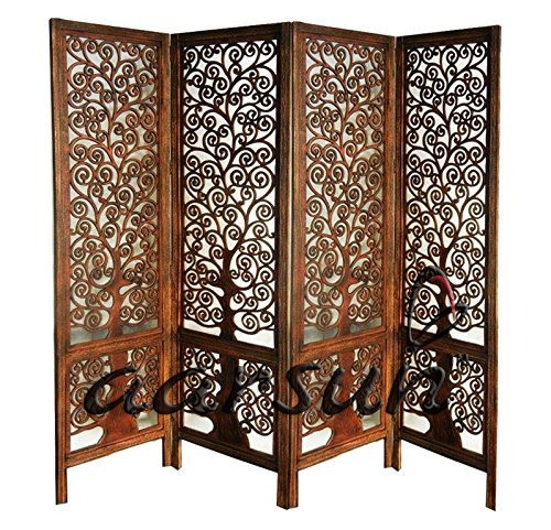 Aarsun Wooden Room Divider Partition Screen in MDF and Mango Wood (4 Panels)