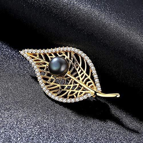 Peggy Gu schmuck Weinlese-Art-Silber-Blatt-Form-Perlen-Brosche Pin Rhinestone bedeckte Schals-Schal-Klipp für Erwachsene Frauen-Damen-Mädchen kostüm - Accessoire (Farbe : Schwarz)