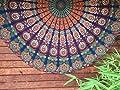 72'' Peacock Mandala Round Roundie Throw Hippie Beach Throw Boho Yoga Mat Decorative Cotton Round Table Cloth Indian Round Mandala Tapestry