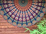 72'' Peacock Mandala Round Roundie Throw Hippie Beach Throw Boho Yoga Mat Decorative Cotton Round Table Cloth Indian Round Mandala Tapestry