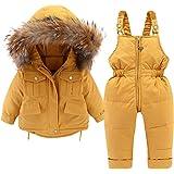 Bebé Traje de Nieve 2 Piezas Abrigo de Plumón con Capucha + Pantalones de Peto Ropa de Esquí para Niños Niñas 9-36 Meses