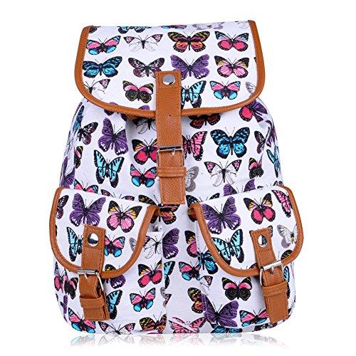 Vbiger Damen Rucksack Damen Daypack Backpack Canvas Rucksack Vintage Rucksack Schulrucksack mit Großer Kapazität Schmetterling Weiß+