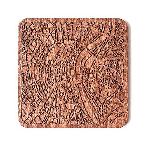 Köln Stadtplan Untersetzer, One piece, Sapele Wooden Coaster with city map, Multiple city optional, Handmade