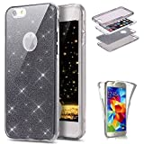 Custodia iPhone 7 Plus Cover Case , JAWSEU [360 gradi] 3 in 1 Protezione Completa Glitter Sparkle Bling Bling Trasparente Custodia per Apple iPhone 7 Plus Cover Case Caso Gomma Ultra Sottile Leggero Silicone Gel TPU Morbida Custodia Flessibile Liscio Antiurto Coperture Bumper per iPhone 7 Plus 5.5 Bella Protectiva Custodia Cover - Nero