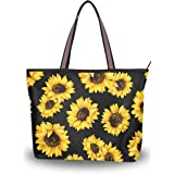 ZOEO Damen Sommerhandtasche mit Reißverschluss, Sonnenblumenmotiv, Schwarz