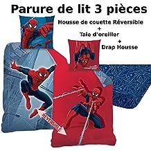 Spiderman–Juego de cama (3pcs)–Funda de edredón (140x 200) + funda de almohada (63x 63) + sábana bajera (90x 190)–100% algodón–Estampado Tower