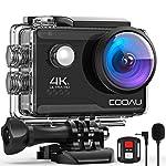 COOAU Action Cam HD 4K 20MP WiFi Con Microfono Esterno Fotocamera Sott'acqua 40M con Telecomando EIS Stabilizzazione...