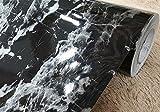 Kunstleder schwarz Marmor Vinyl Kontakt Papier, selbstklebend, Folie Abziehen und Aufkleben Granit Marmor Regalen für Küche Zähler Tisch Möbel Handwerk Projekte (24von 297,2cm)