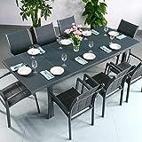 Beatrice Tisch mit 8 Georgia Stühlen - GRAU | großer ausziehbarer Esstisch 240cm