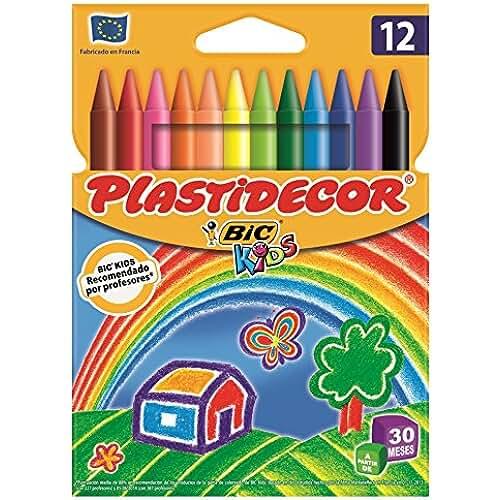 material escolar para la vuelta al cole Bic Plastidecor - Ceras de colores clásicos, pack de 12