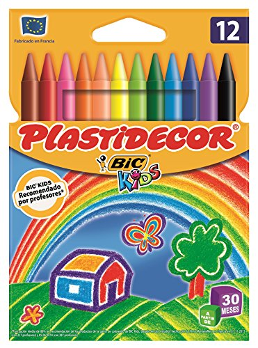 Bic Plastidecor - Assorted coloured crayons - Pack of 12. Pack de 12 ceras Classic