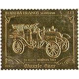 Islas Bernera Escocia : Classic Cars - De Rion Bouton sello 1903 / hoja de oro / perforado . Valor nominal £ 12 / 1987 / Bernera / MNH