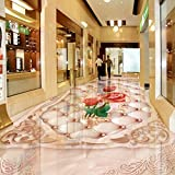 Mbwlkj Foto Boden Europäischen Rose Weiche Bodenbeläge 3D Boden Malerei Custom Wohnzimmer Badezimmer Tapeten Bodenbeläge-400Cmx280Cm