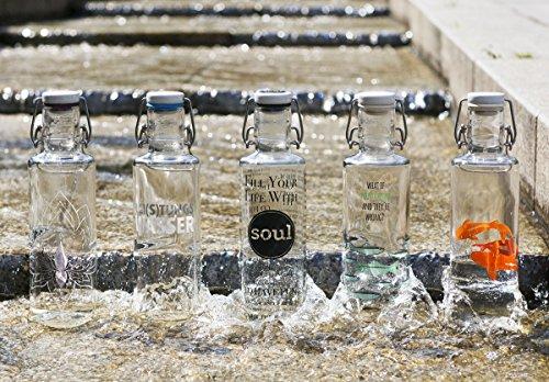 Soulbottles 0,6l Trinkflasche aus Glas • Verschiedene Motive, Made in Germany, vegan, plastikfrei, BPA-frei, Glastrinkflasche, Glasflasche