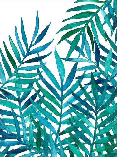 Posterlounge Acrylglasbild 120 x 160 cm: Aquarell Palm-Blätter auf Weiß von Micklyn Le Feuvre -...