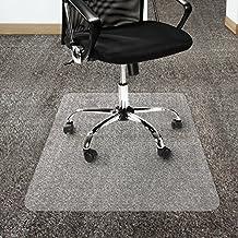 Etm - Protector de alfombra de policarbonato antideslizante, transparente, con reverso rugoso, para sillas de oficina, plástico, Transparente, 90 x 120 cm