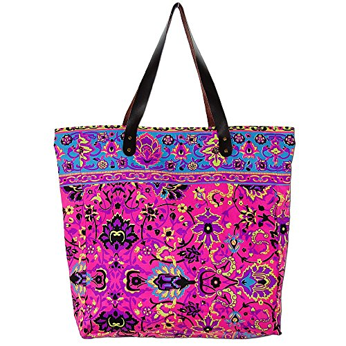 (Seestern Sportswear SEESTERN XL Shopper Schultertasche farbenfrohe SommerTrage HandtascheLederriemen/1501XL_FBA Pink)
