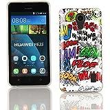 Kit Me Out ES Funda de gel TPU + Protector de pantalla con gamuza de microfibra para Huawei Y635 - Multicolor / Blanco Onomatopeyas de cómic