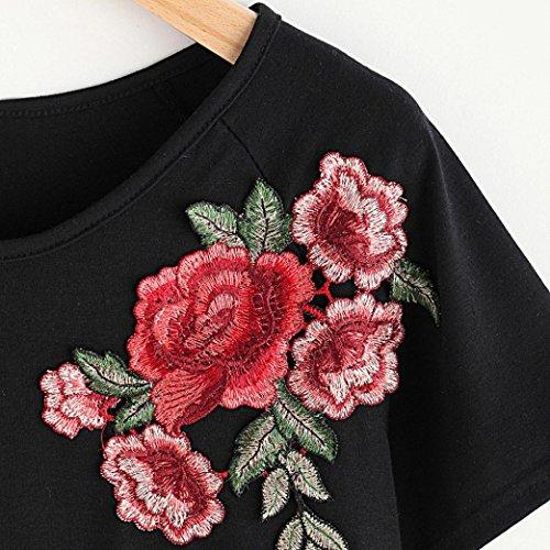 Ularma Damen Elegant Rose Stickerei Bluse Kurzarm Rundhals T-Shirt Tops Schwarz4