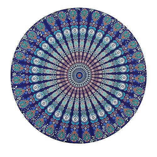 Kaxima serviette nationale plage d'impression circulaire vent soleil plage châle tapis tapis de yoga coussin de plage tapis de pique-nique 150x150cm