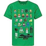 Minecraft Caracteres Sprites Mojang Niños Niños Verdes Manga Corta Camiseta