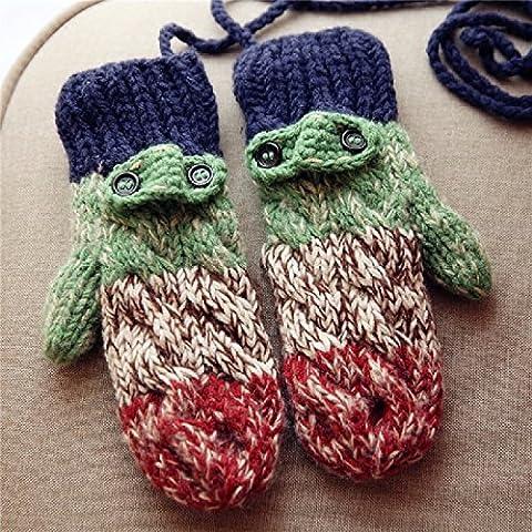 ZHGI Gradiente e jacquard imbottito di peluche per mantenere caldo in inverno guanti pacchetto di cordino a maglia guanti di lana ladies,Apple-verde