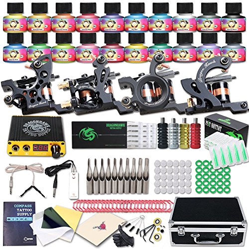 Dragonhawk Professional Tattoo Kit 4 Kinds Of Machines 20 Immortal Color Inks Top CE Power Supply D139EUYMX (GT-2)