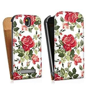 HTC One SV Tasche Schutz Hülle Walletcase Bookstyle Rosen Frühling Blüten