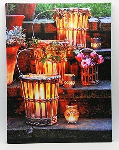 Geschenkestadl LED Wandbild Windlichter beleuchtet Bild 30 x 40 cm Leinwand Kerzen Teelichter Abend