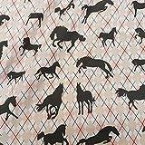 Stoff Meterware Baumwolle Pferd Pferde rosa weiß schwarz Raute reiten Kleiderstoff Dekostoff