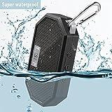 LESHP Altavoz de bolsillo Bluetooth impermeable, inalámbrico, con micrófono, llamada manos libres, para ducha, viaje, senderismo, actividades al aire libre, color negro