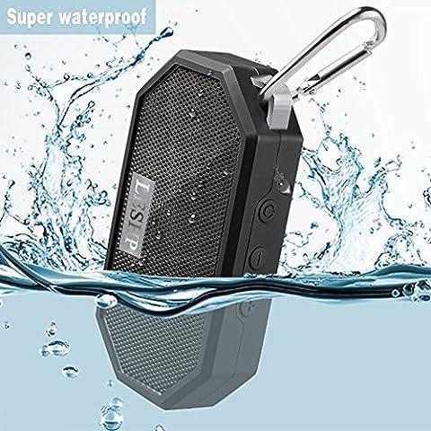 LESHP Enceinte de Poche Bluetooth étanche Haut-parleur Wireless Portable Président Douche haut-parleur avec Mic, appel mains libres Fonction de douche, voyage, randonnée, activités en plein air (Noir)