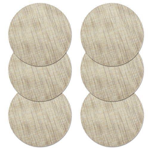 Sets de Table, U'ARTLINES Lot de 6 Set de Table tressé en PVC Lavable Résistantes à la Chaleur Antidérapant, Set de Table Rond 35x35cm(rond,beige)