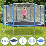 Physionics Ensemble de Trampoline | Diamètre Environ 430 cm, Charge maximale 110 kg, Filet, Protection Contre Les intempéries et échelle | Trampoline de Jardin extérieur, Trampoline pour Enfants