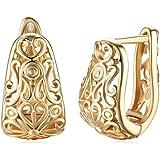 Delicati orecchini a cerchio, in filigrana oro 14 carati, per donne e ragazze, ovali, alla moda, con motivo a cuore, ipoaller