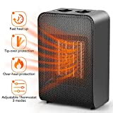 Electric Fan Heater - Portable Ceramic Heater PTC Heat Technology Mini Space Heater 1500W/750W with Adjustable Thermostat Oscillation Tip-Over&Overheat Protection for Home Office Bedroom Desk