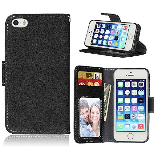 FUBAODA étui Folio en cuir pour Apple iPhone 5 / 5S / 5SE, [Skin-friendly][Suède][Givré] Cover Coque TPU Porte cartes avec Support Protection intégrale pour Apple iPhone 5 / 5S / 5SE (noir) Noir