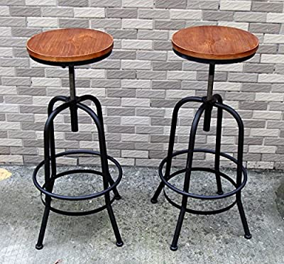 2 X SUNDELY® Retro Vintage Nordic Style Wooden & Metal Bar Stool High Tall Seat Barstool for Office Kitchen Restaurant Bar Pub Party - Adjustable Height - cheap UK light store.
