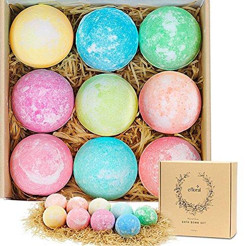 Efloral Badebomben Geschenk Set,Badekugeln Geschenkset für Frauen, 9 Stück mit verschiedene Duft