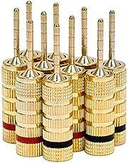 Monoprice 109438 High-Quality Copper Speaker Closed Plugs - 5-Pair, Pin Screw Type