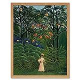 Wee Blue Coo LTD Painting Henri Rousseau Femme Se Promenant Art Print Framed Poster Wall Decor Kunstdruck Poster Wand-Dekor-12X16 Zoll