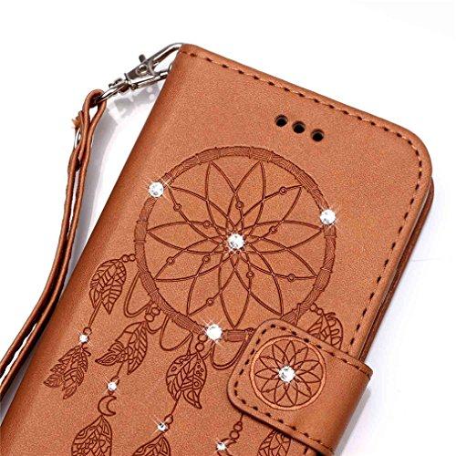Mk Shop Limited Etui iPhone 5/5S Luxe PU Cuir Coque Housse Portefeuille Dragonne Case Cover de Protection Swag Shell avec Fonction Support Gaufrage Motif avec Diamant pour Apple iPhone 5/5S Multi-couleur 31