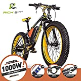 RICH BIT Bici elettriche da uomo Cruiser fat bicicletta TP012 1000 W * 48 V * 17AH fat tire 66 x 10,2 cm 7 marce Shimano Dearilleur Power ciclismo (Nero giallo) ...