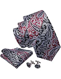 a615be6985c5 Wang Mens Ties and Pocket Square Cufflinks Silk Necktie Set Paisley