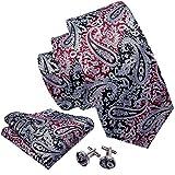 Barry.Wang Designer - Juego de corbatas y gemelos cuadrados de bolsillo para hombre, diseño de cachemira Gris gris/rojo Talla única