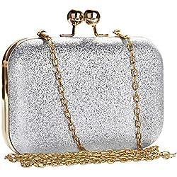 MANUKA Ceremonia de embrague para mujer, Bolso de embrague para mujer Bolso de noche Elegante, mini bolso con bandolera de cuero con cuentas Cadena de diamantes de imitación Fiesta Cóctel-Plata