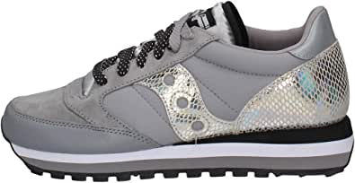 Saucony Sneaker Jazz Triple in Suede Grigio con Dettagli Pitonati, Taglia UK: